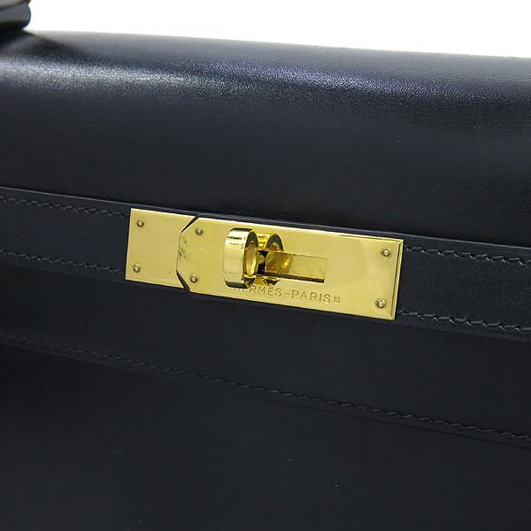 Hermes(에르메스) 블랙레더 켈리 35 금장로고 락 장식 토트백 + 숄더스트랩 2WAY [강남본점] 이미지4 - 고이비토 중고명품
