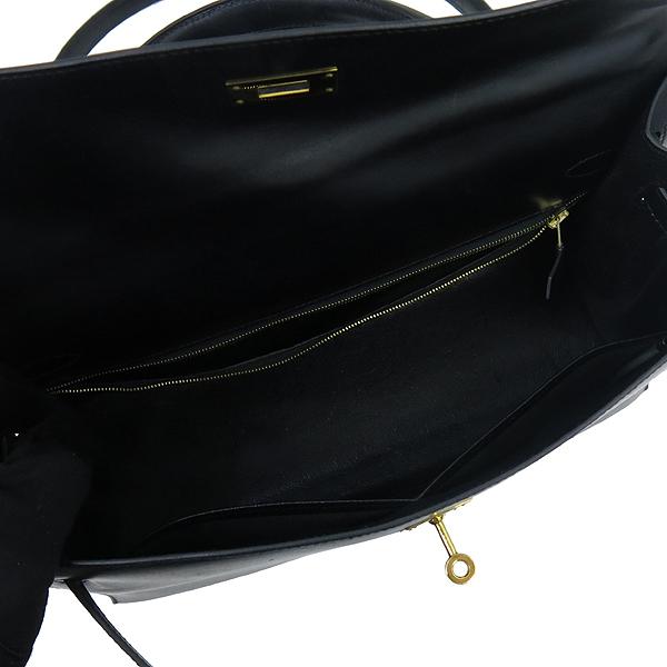 Hermes(에르메스) 블랙레더 켈리 35 금장로고 락 장식 토트백 + 숄더스트랩 2WAY [강남본점] 이미지6 - 고이비토 중고명품