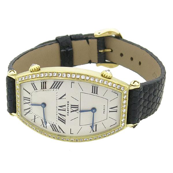 Cartier(까르띠에) 18K 골드 베젤 다이아 TONNEAU (토너) DUAL TIME 쿼츠 가죽밴드 여성용 시계 [강남본점] 이미지2 - 고이비토 중고명품