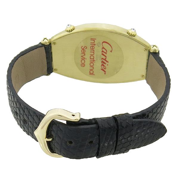 Cartier(까르띠에) 18K 골드 베젤 다이아 TONNEAU (토너) DUAL TIME 쿼츠 가죽밴드 여성용 시계 [강남본점] 이미지3 - 고이비토 중고명품