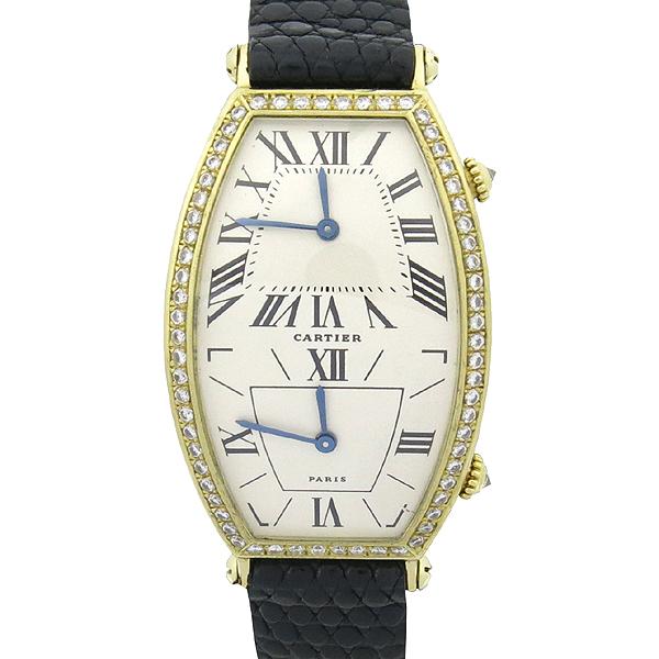 Cartier(까르띠에) 18K 골드 베젤 다이아 TONNEAU (토너) DUAL TIME 쿼츠 가죽밴드 여성용 시계 [강남본점] 이미지5 - 고이비토 중고명품