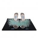 Prada(프라다) 1XX351 그레이 새틴 크리스크로스 MINT COLOR FEATHER 여성용 샌들 구두 [동대문점]