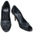 Dior(크리스챤디올) 블랙 레더 퀼팅 오픈토 하이힐 여성용 구두 [강남본점]