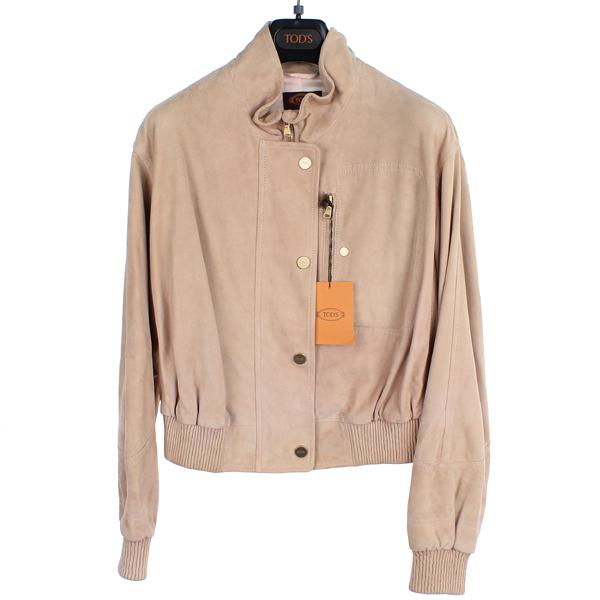 Tod's(토즈) X1W12249910 로즈컬러 스웨이드 골드로고스냅 여성 자켓 [동대문점]