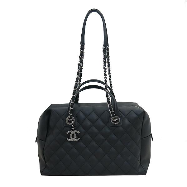 Chanel(샤넬) A93971 블랙 퀼팅 레더 COCO 은장로고 볼링 토트백 + 체인스트랩 2WAY [부산센텀본점]