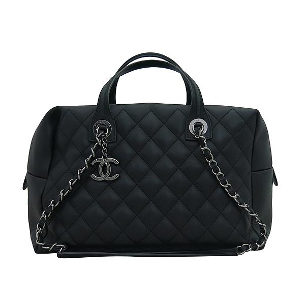 Chanel(샤넬) A93971 블랙 퀼팅 레더 COCO 은장로고 볼링 토트백 + 체인스트랩 2WAY [부산센텀본점] 이미지2 - 고이비토 중고명품