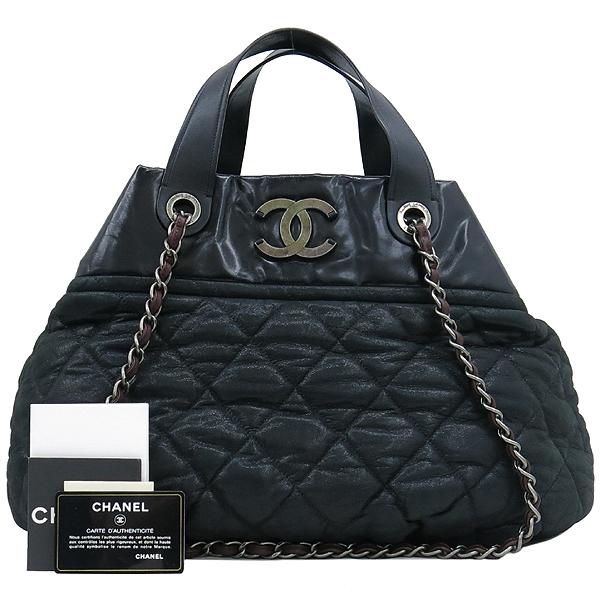 Chanel(샤넬) 블랙 펄 레드브라운 IN THE MIX 인더믹스 금장로고 토트백 + 체인 숄더스트랩 2WAY [강남본점]
