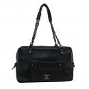 Chanel(샤넬) COCO로고 원 포켓 블랙 캐비어 스킨 은장체인 숄더백 [부산센텀본점]