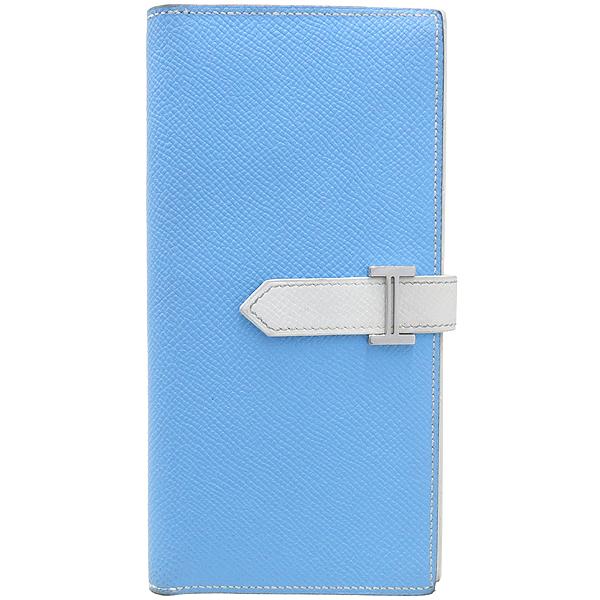 Hermes(에르메스) H 은장 로고 스카이블루 / 화이트 컬러 베안 장지갑 [강남본점]