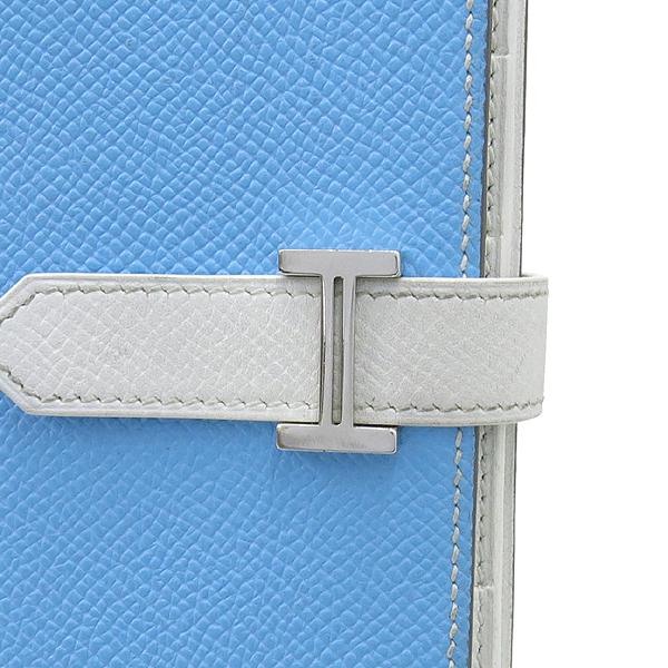 Hermes(에르메스) H 은장 로고 스카이블루 / 화이트 컬러 베안 장지갑 [강남본점] 이미지2 - 고이비토 중고명품