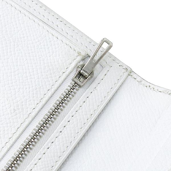Hermes(에르메스) H 은장 로고 스카이블루 / 화이트 컬러 베안 장지갑 [강남본점] 이미지4 - 고이비토 중고명품