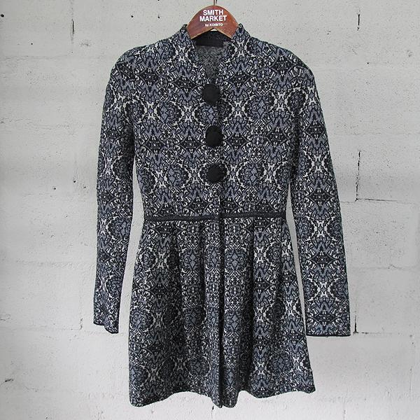Mine(마인) 울 혼방 기하학 패턴 비쥬 버튼 여성용 니트 자켓 [동대문점]