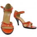 Hermes(에르메스) 은장 락 장식 오렌지 페이던트 레더 스트랩 여성 구두 [대구반월당본점]