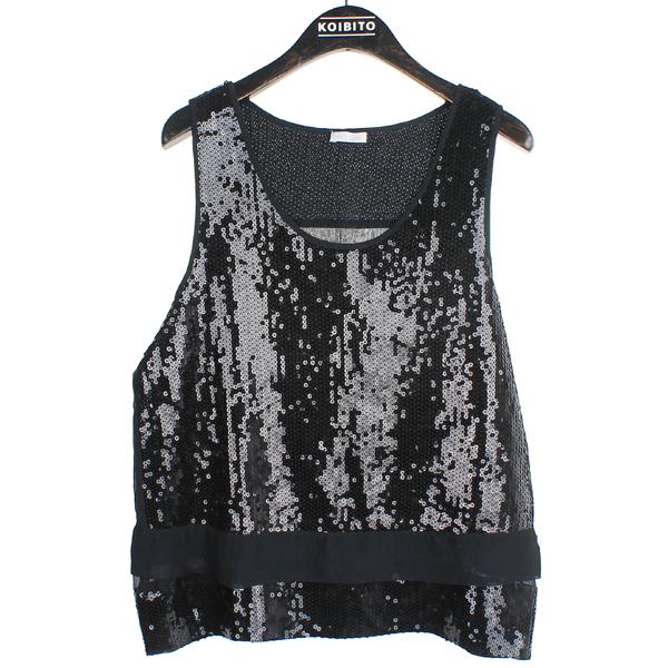 Cacharel(까사렐) 블랙 컬러 스팽글 장식 민소매 셔츠 [동대문점]