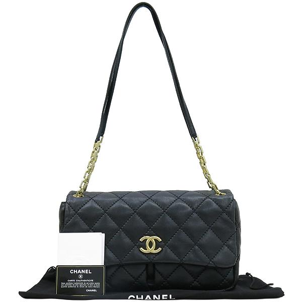 Chanel(샤넬) 블랙레더 퀼팅 COCO 금장로고 체인 플랩 숄더백 [강남본점]
