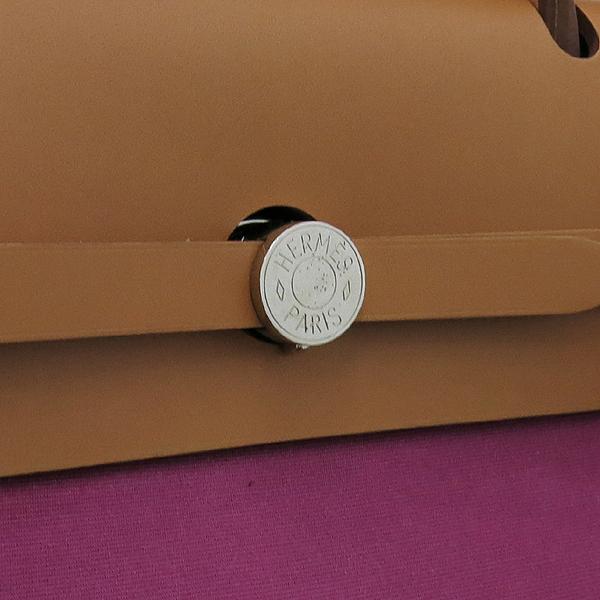 Hermes(에르메스) HER 에르라인 퍼플 패브릭 브라운 레더 혼방 집업 에르백 GM 토트백 + 숄더스트랩 2WAY [강남본점] 이미지4 - 고이비토 중고명품