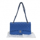 Chanel(샤넬) A01112 라이트 블루 페이던트 클래식 M사이즈 은장로고 체인 플랩 숄더백 [부산센텀본점]