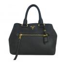 Prada(프라다) BN2793 블랙 컬러 VIT.DAINO(비텔로다이노) 금장 로고 토트백 [동대문점]