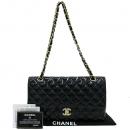 Chanel(샤넬) 금장 COCO 로고 펄 블랙 페이던트 퀼팅 클래식 M 사이즈 금장 체인 숄더백 [강남본점]