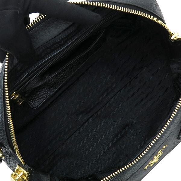 Prada(프라다) BL0867 블랙 컬러 레더 보스톤 토트백 + 숄더 스트랩