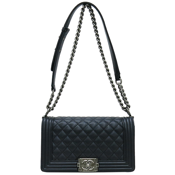 Chanel(샤넬) A67086 보이샤넬 S사이즈 블랙 램스킨 은장 체인 숄더백
