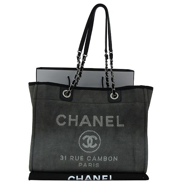 Chanel(샤넬) 31 RUE CAMBON PARIS 로고 그레이 패브릭 도빌 SHOPPNG(쇼핑) 숄더백 [부천 현대점]