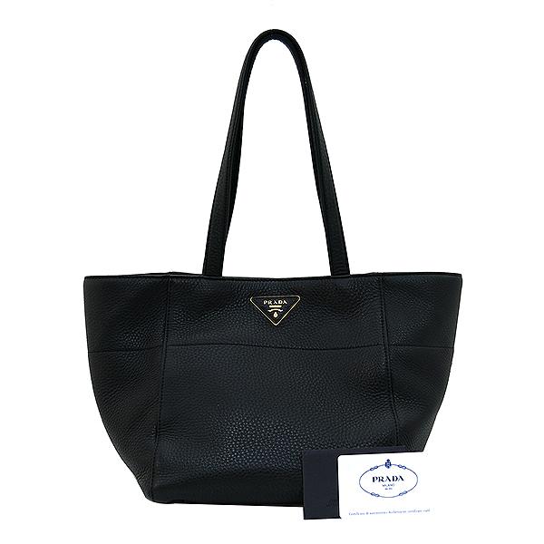 Prada(프라다) BR5092 VIT DAINNO(비텔로다이노) 블랙 레더 금장 로고 장식 토트백 [부산센텀본점]