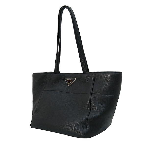 Prada(프라다) BR5092 VIT DAINNO(비텔로다이노) 블랙 레더 금장 로고 장식 토트백 [부산센텀본점] 이미지3 - 고이비토 중고명품