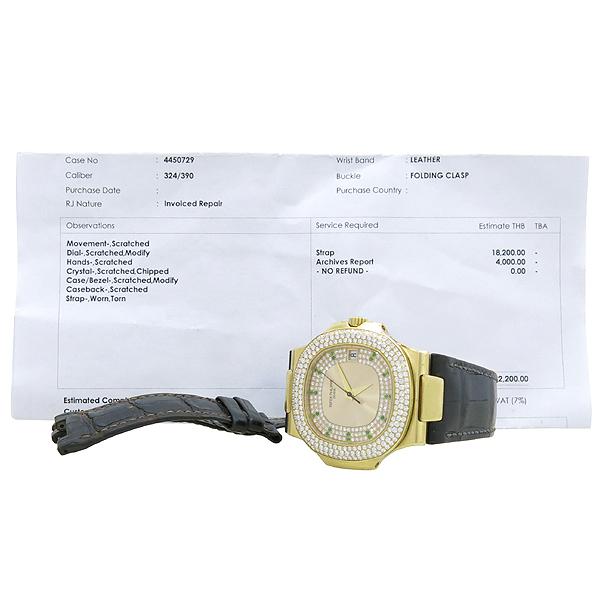 PATEK PHILIPPE (파텍 필립) 5711 스페셜오더 Nautilus(노틸러스) 44mm 18K 금통 오리지널 다이아 가죽밴드 남성용 시계