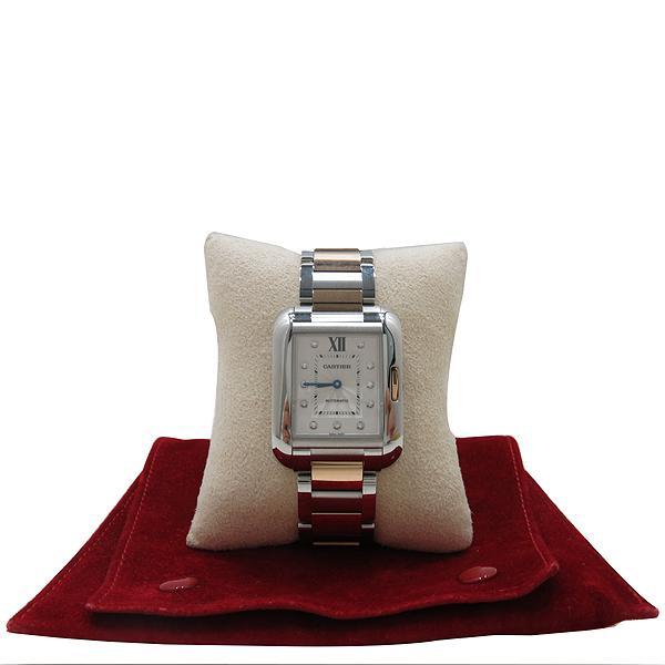 Cartier(까르띠에) WT100025 탱크 앙그레즈 핑크골드 콤비 11포인트 다이아 L사이즈 오토매틱 남성용 시계 [인천점]