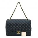Chanel(샤넬) A47600 캐비어스킨 블랙 클래식 맥시 사이즈 금장 로고 체인 숄더백 [부산센텀본점]