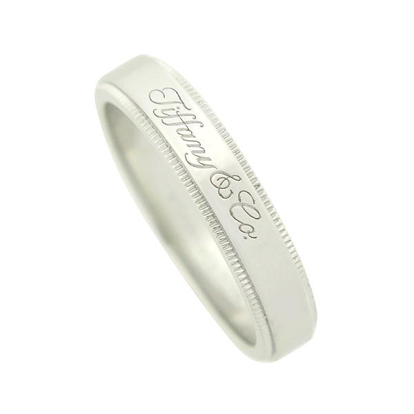 Tiffany(티파니) PT950 (플래티늄) 신형 밀그레인 엣지 4mm 밴드 반지 [강남본점]