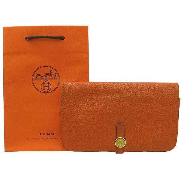 Hermes(에르메스) 오렌지 컬러 레더 도곤 장지갑 + 보조파우치 [강남본점]