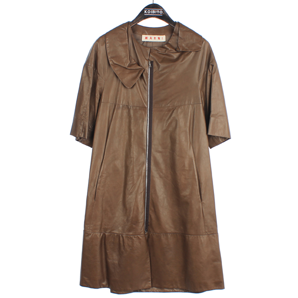 MARNI(마르니) 브라운 컬러 7부 양가죽 여성용 가죽 코트[부산센텀본점]