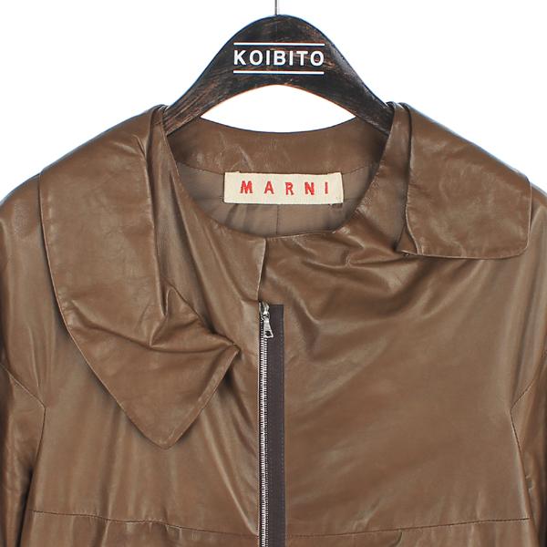 MARNI(마르니) 브라운 컬러 7부 양가죽 여성용 가죽 코트[부산센텀본점] 이미지2 - 고이비토 중고명품