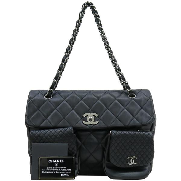 Chanel(샤넬) COCO 로고 장식 멀티 포켓 램스킨 스티치 레더 체인 숄더백 [대구반월당본점]