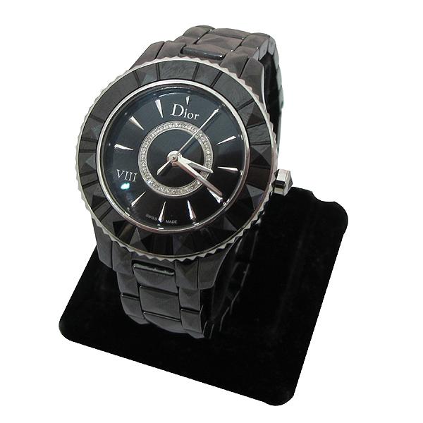Dior(크리스챤디올) CD1231E0 Dior VIII 컬렉션 블랙 하이테크 세라믹 다이아몬드 스틸 폴딩 버클 쿼츠 28MM 여성용 시계 [강남본점]