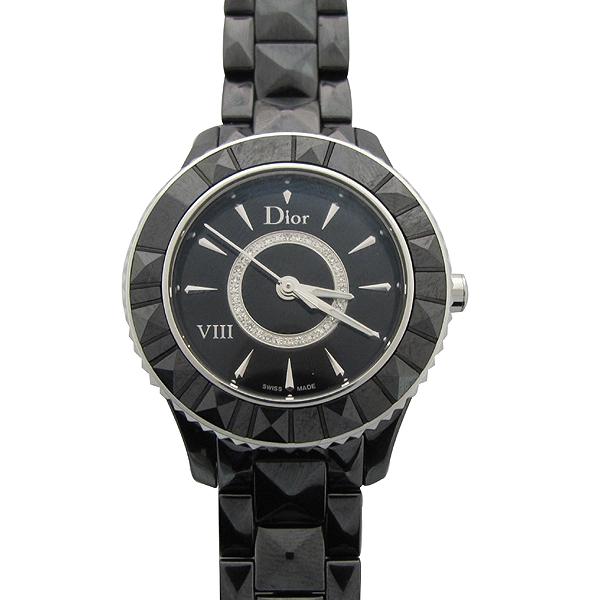 Dior(크리스챤디올) CD1231E0 Dior VIII 컬렉션 블랙 하이테크 세라믹 다이아몬드 스틸 폴딩 버클 쿼츠 28MM 여성용 시계 [강남본점] 이미지2 - 고이비토 중고명품