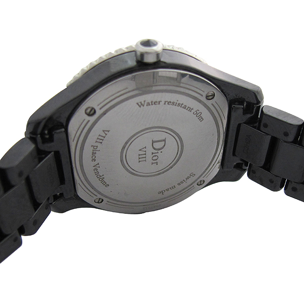 Dior(크리스챤디올) CD1231E0 Dior VIII 컬렉션 블랙 하이테크 세라믹 다이아몬드 스틸 폴딩 버클 쿼츠 28MM 여성용 시계 [강남본점] 이미지3 - 고이비토 중고명품