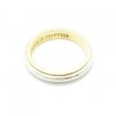 Tiffany(티파니) PT950(플래티늄) 18K 옐로우골드 밀그레인 3MM 반지-9호
