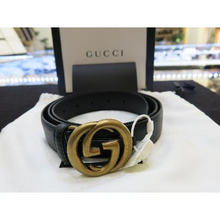 Gucci(구찌)474315 블랙레더 금장버클 남성용벨트