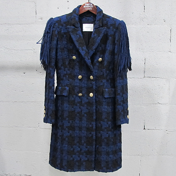 PIERRE BALMAIN(피에르 발망) FP23090  블루 블랙 트위드 술 장식 여성용 더블 코트 [동대문점]