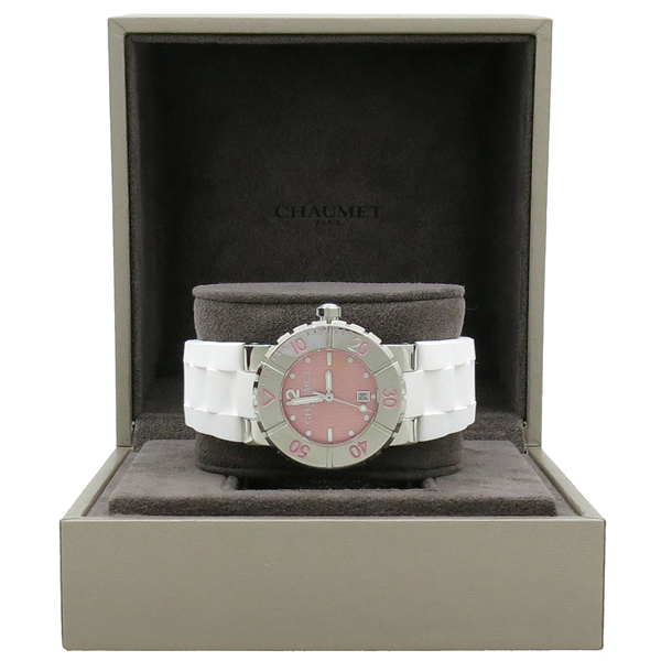 CHAUMET(쇼메) CLASS ONE (클래스원) 쿼츠 핑크메탈릭 다이얼 데이트 러버밴드 D 클립 33mm 여성용 시계 [강남본점]