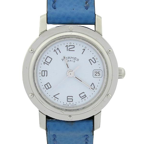 Hermes(에르메스) CL4.210 CLIPPER 클리퍼 쿼츠 은장 라운드 화이트 다이얼 데이트 블루 가죽 밴드 여성용시계 [강남본점]
