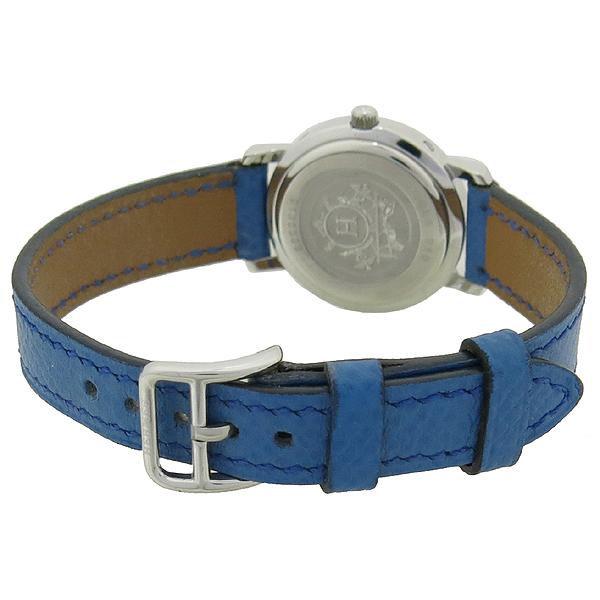 Hermes(에르메스) CL4.210 CLIPPER 클리퍼 쿼츠 은장 라운드 화이트 다이얼 데이트 블루 가죽 밴드 여성용시계 [강남본점] 이미지3 - 고이비토 중고명품