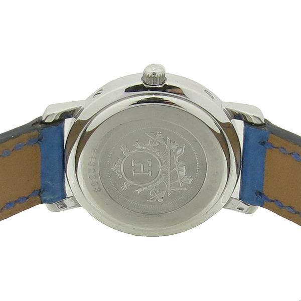 Hermes(에르메스) CL4.210 CLIPPER 클리퍼 쿼츠 은장 라운드 화이트 다이얼 데이트 블루 가죽 밴드 여성용시계 [강남본점] 이미지4 - 고이비토 중고명품