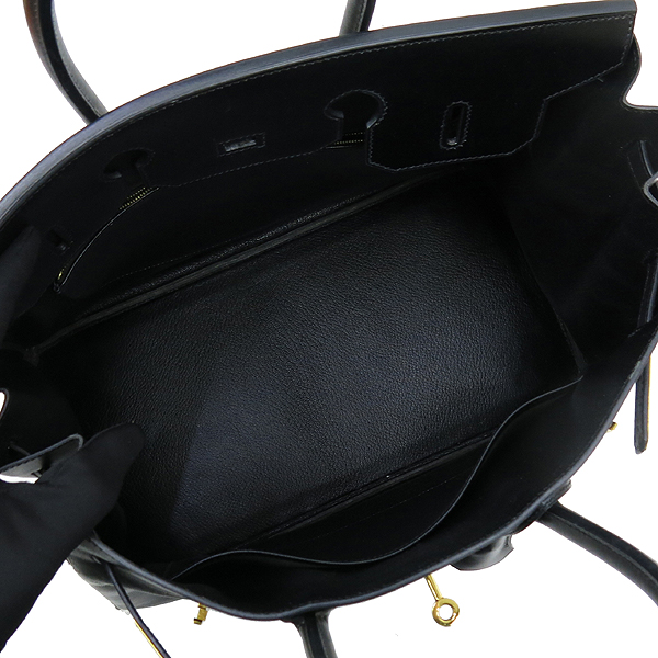 Hermes(에르메스) 블랙 컬러 복스카프 벌킨 35 금장 버클 토트백 [강남본점] 이미지7 - 고이비토 중고명품