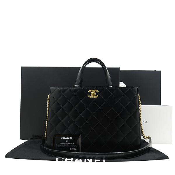 Chanel(샤넬) A91865 16SS 컬렉션 카프스킨 블랙 레더 금장 COCO로고 장식 2WAY [인천점]