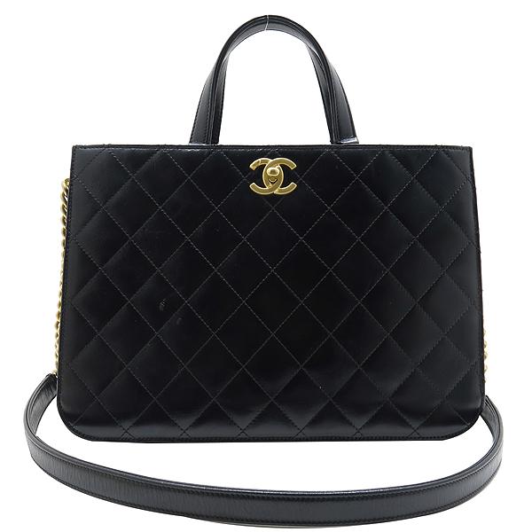 Chanel(샤넬) A91865 16SS 컬렉션 카프스킨 블랙 레더 금장 COCO로고 장식 2WAY [인천점] 이미지2 - 고이비토 중고명품