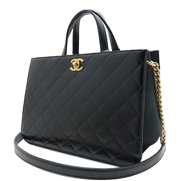 Chanel(샤넬) A91865 16SS 컬렉션 카프스킨 블랙 레더 금장 COCO로고 장식 2WAY [인천점] 이미지3 - 고이비토 중고명품